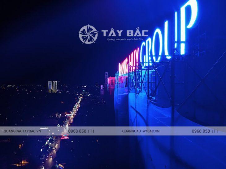 Biển quảng cáo trên nóc tòa nhà Huy Hoàng Group
